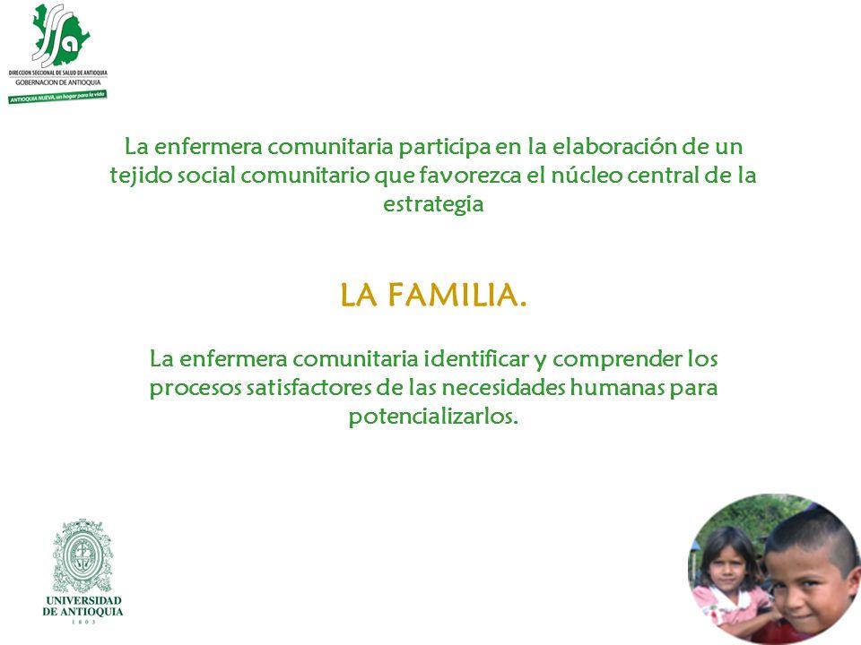 La enfermera comunitaria participa en la elaboración de un tejido social comunitario que favorezca el núcleo central de la estrategia LA FAMILIA.