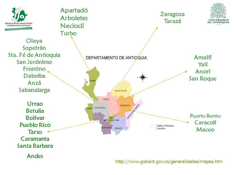 Apartadó Arboletes Necloclí Zaragoza Tarazá Turbo Olaya Sopetrán