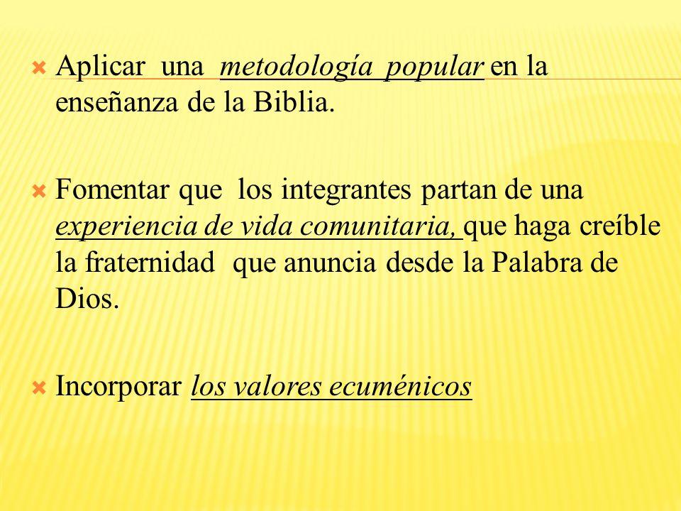 Aplicar una metodología popular en la enseñanza de la Biblia.