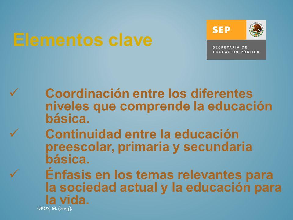 Elementos claveCoordinación entre los diferentes niveles que comprende la educación básica.