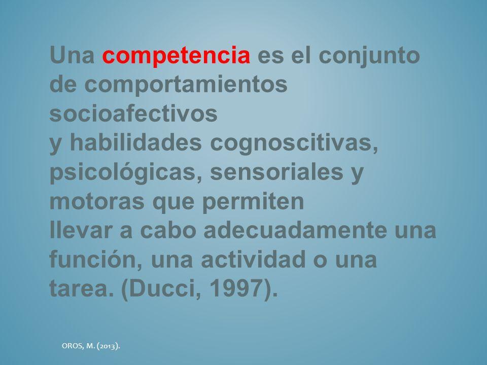 Una competencia es el conjunto de comportamientos socioafectivos