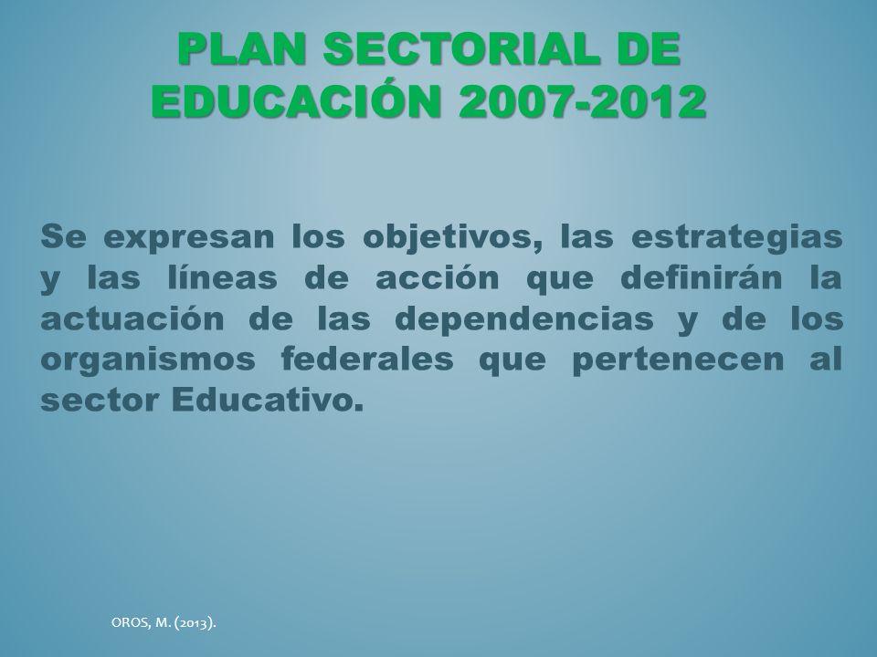 Plan Sectorial de Educación 2007-2012
