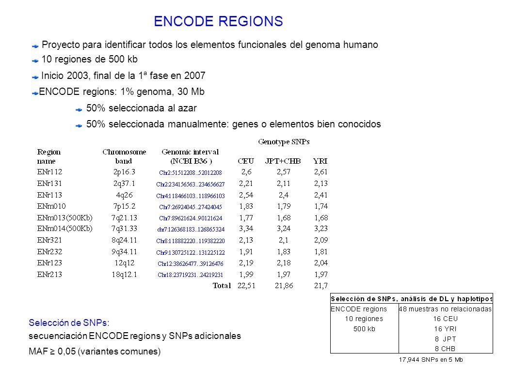 ENCODE REGIONS Proyecto para identificar todos los elementos funcionales del genoma humano. 10 regiones de 500 kb.