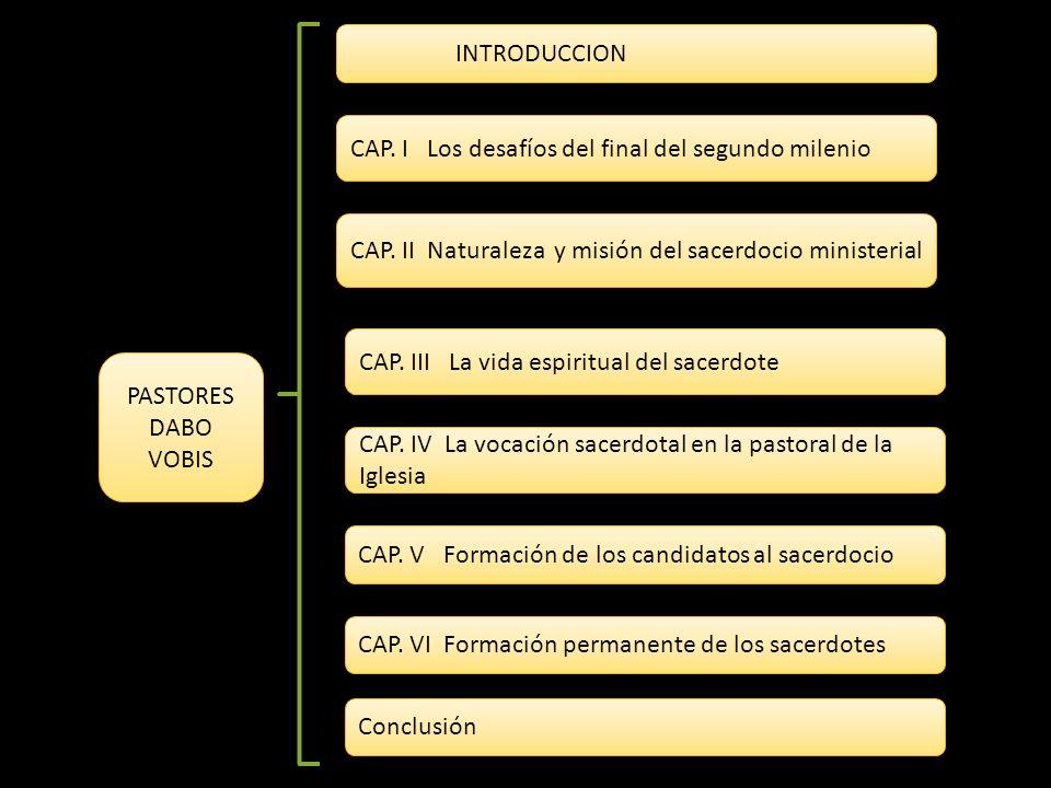 INTRODUCCION CAP. I Los desafíos del final del segundo milenio. CAP. II Naturaleza y misión del sacerdocio ministerial.