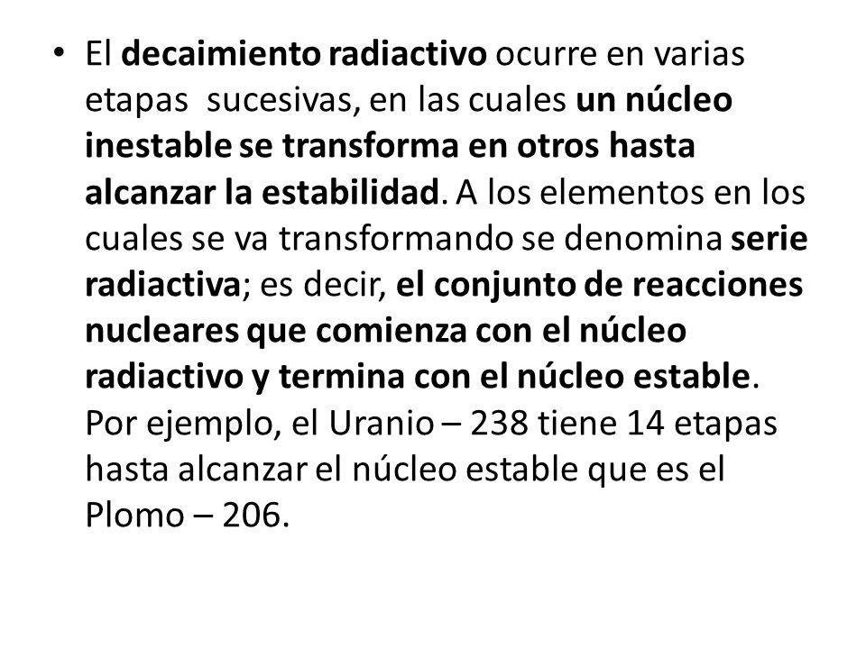 El decaimiento radiactivo ocurre en varias etapas sucesivas, en las cuales un núcleo inestable se transforma en otros hasta alcanzar la estabilidad.