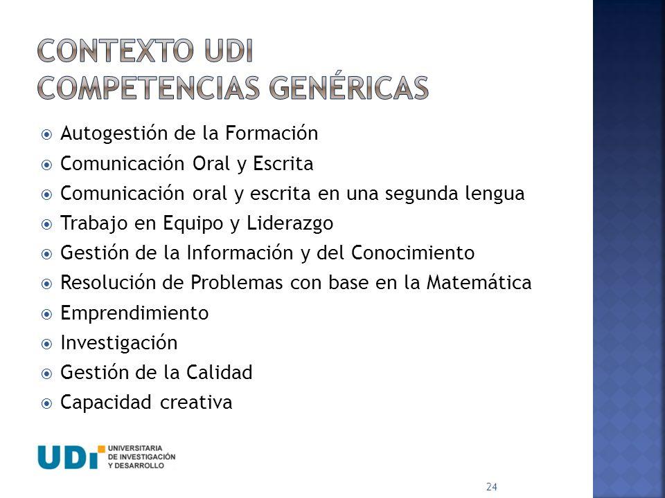 Contexto udi COMPETENCIAS GENÉRICAS