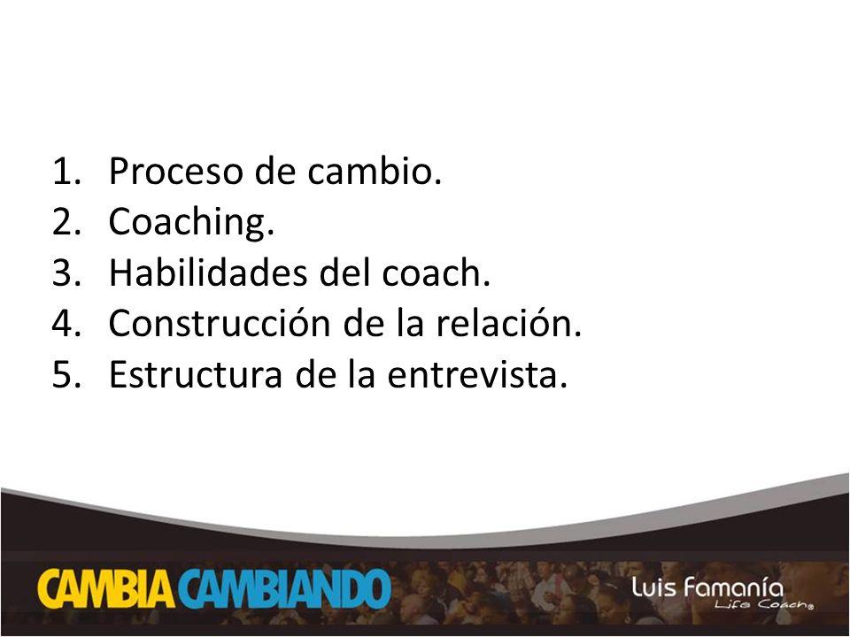 Proceso de cambio. Coaching. Habilidades del coach.