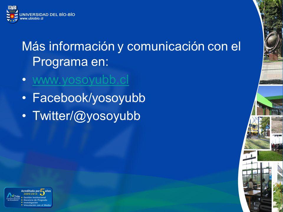 Más información y comunicación con el Programa en: