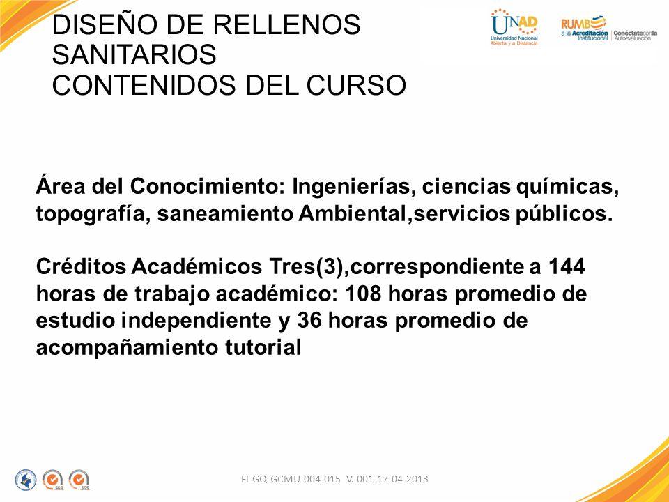DISEÑO DE RELLENOS SANITARIOS CONTENIDOS DEL CURSO