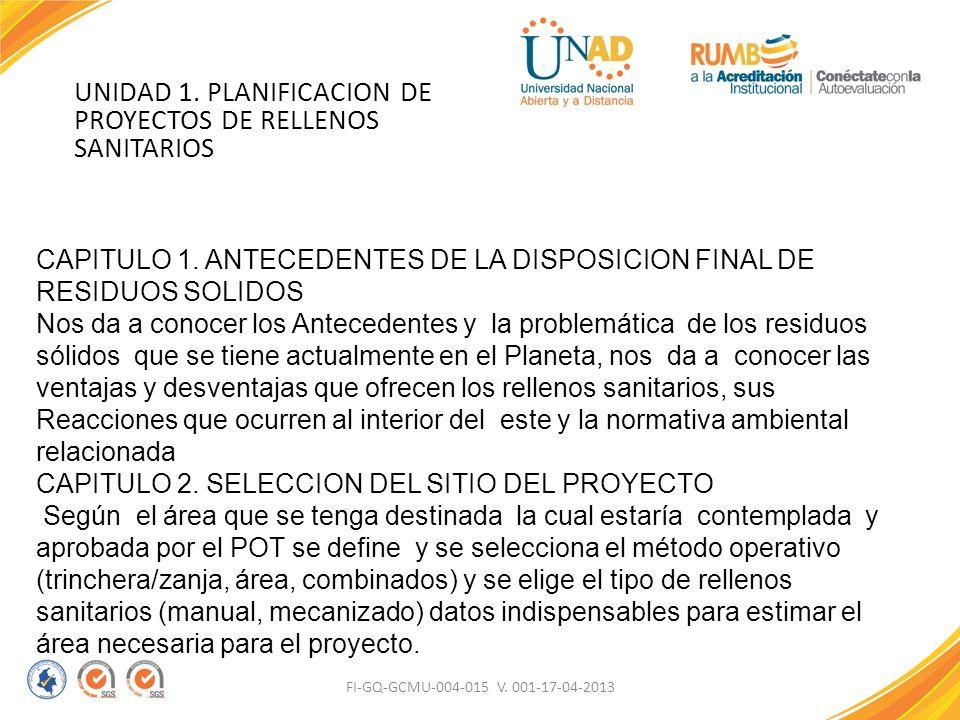 UNIDAD 1. PLANIFICACION DE PROYECTOS DE RELLENOS SANITARIOS