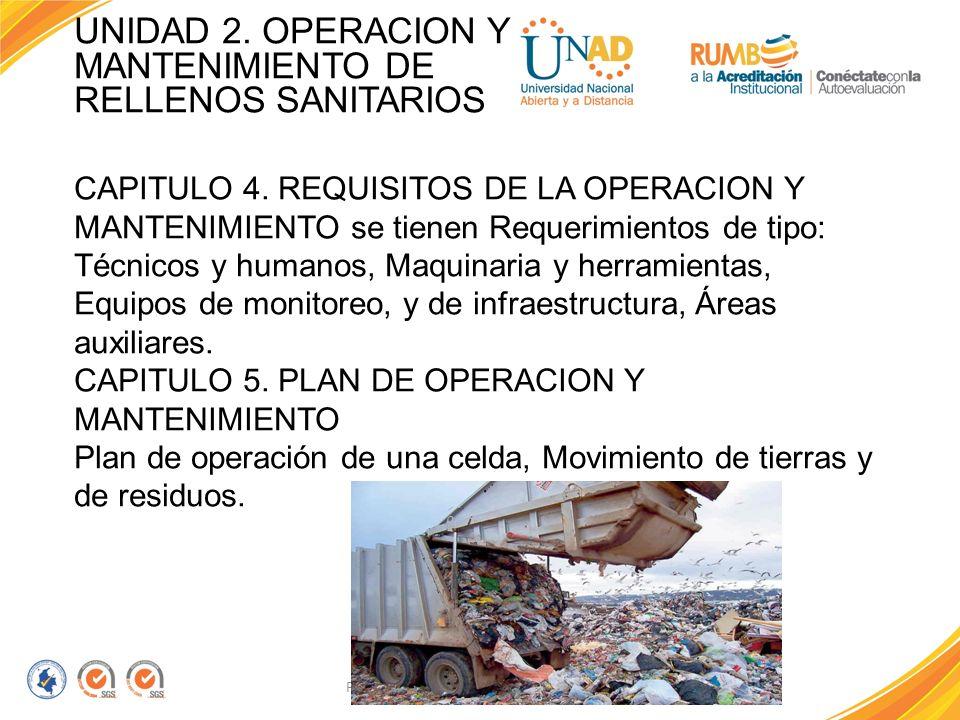 UNIDAD 2. OPERACION Y MANTENIMIENTO DE RELLENOS SANITARIOS
