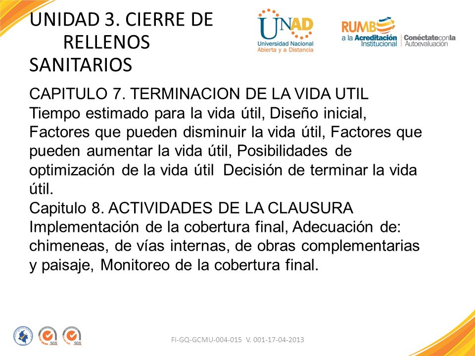UNIDAD 3. CIERRE DE RELLENOS SANITARIOS