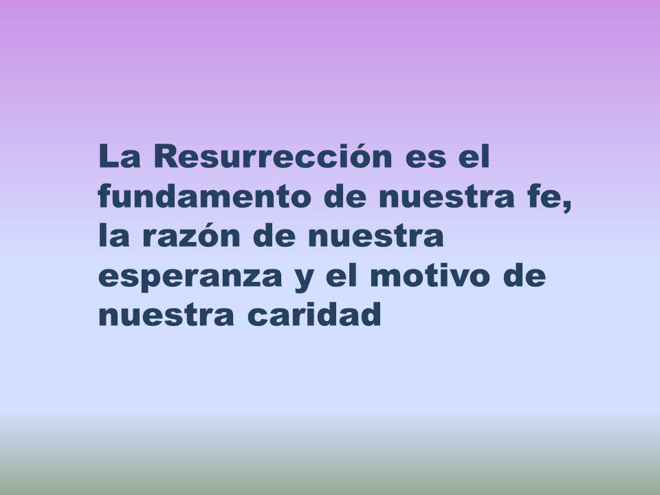 La Resurrección es el fundamento de nuestra fe, la razón de nuestra esperanza y el motivo de nuestra caridad