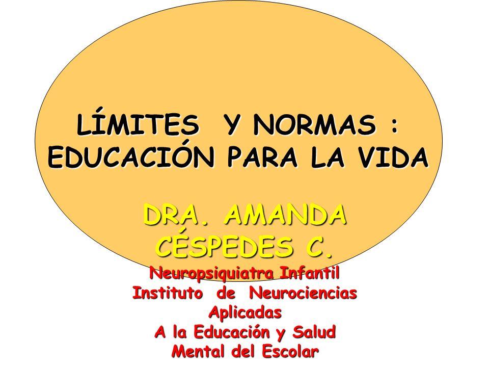 LÍMITES Y NORMAS : EDUCACIÓN PARA LA VIDA DRA. AMANDA CÉSPEDES C.