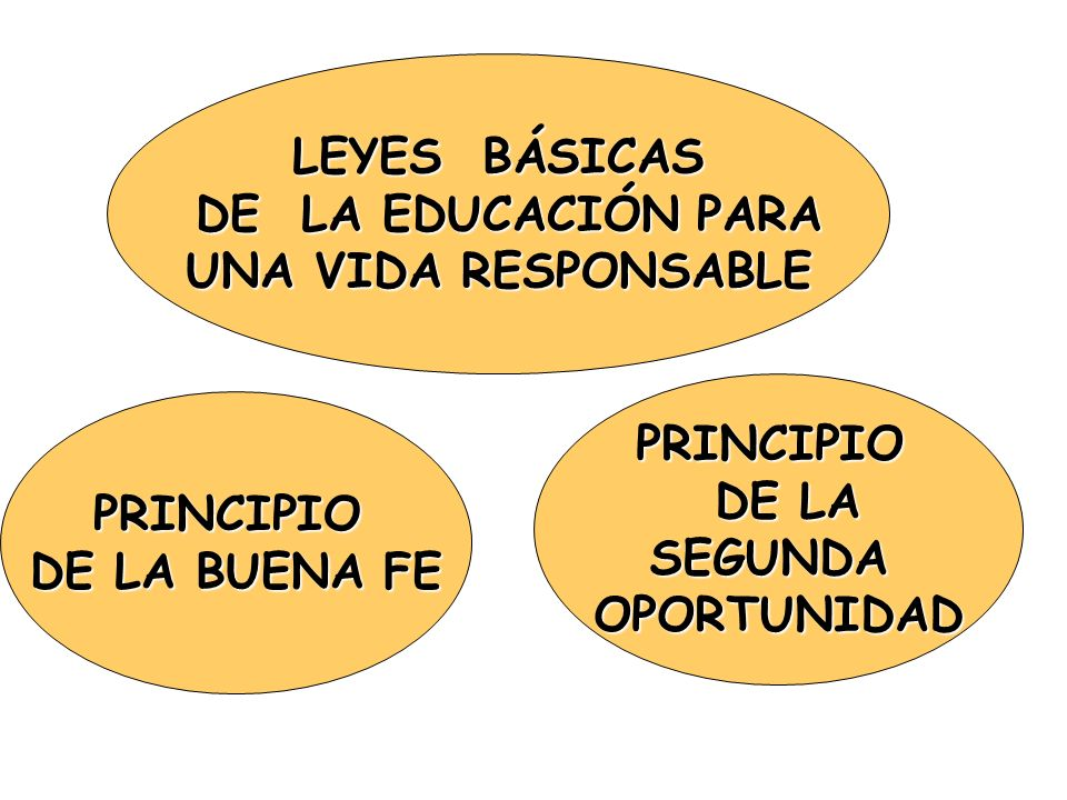 LEYES BÁSICAS DE LA EDUCACIÓN PARA. UNA VIDA RESPONSABLE. PRINCIPIO. DE LA. SEGUNDA. OPORTUNIDAD.