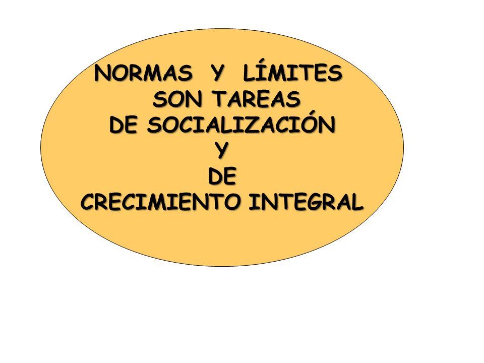 NORMAS Y LÍMITES SON TAREAS DE SOCIALIZACIÓN Y DE CRECIMIENTO INTEGRAL