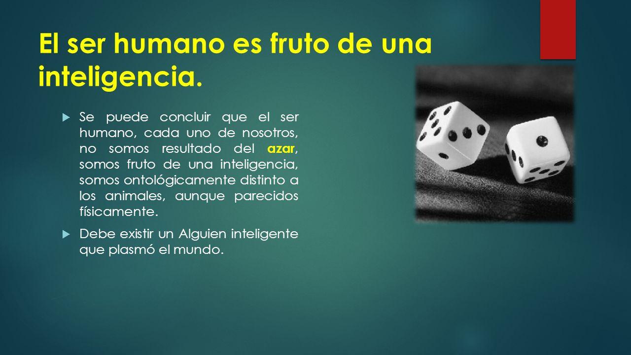 El ser humano es fruto de una inteligencia.