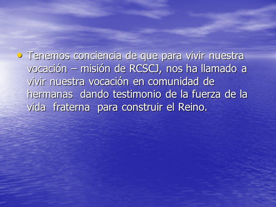 Tenemos conciencia de que para vivir nuestra vocación – misión de RCSCJ, nos ha llamado a vivir nuestra vocación en comunidad de hermanas dando testimonio de la fuerza de la vida fraterna para construir el Reino.