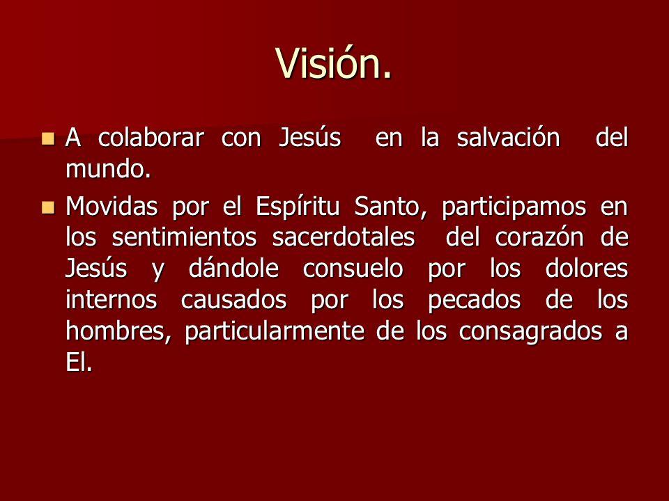 Visión. A colaborar con Jesús en la salvación del mundo.