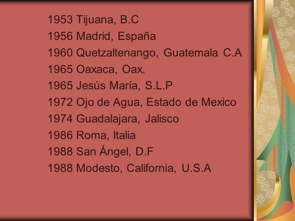 1953 Tijuana, B.C 1956 Madrid, España 1960 Quetzaltenango, Guatemala C.A 1965 Oaxaca, Oax.