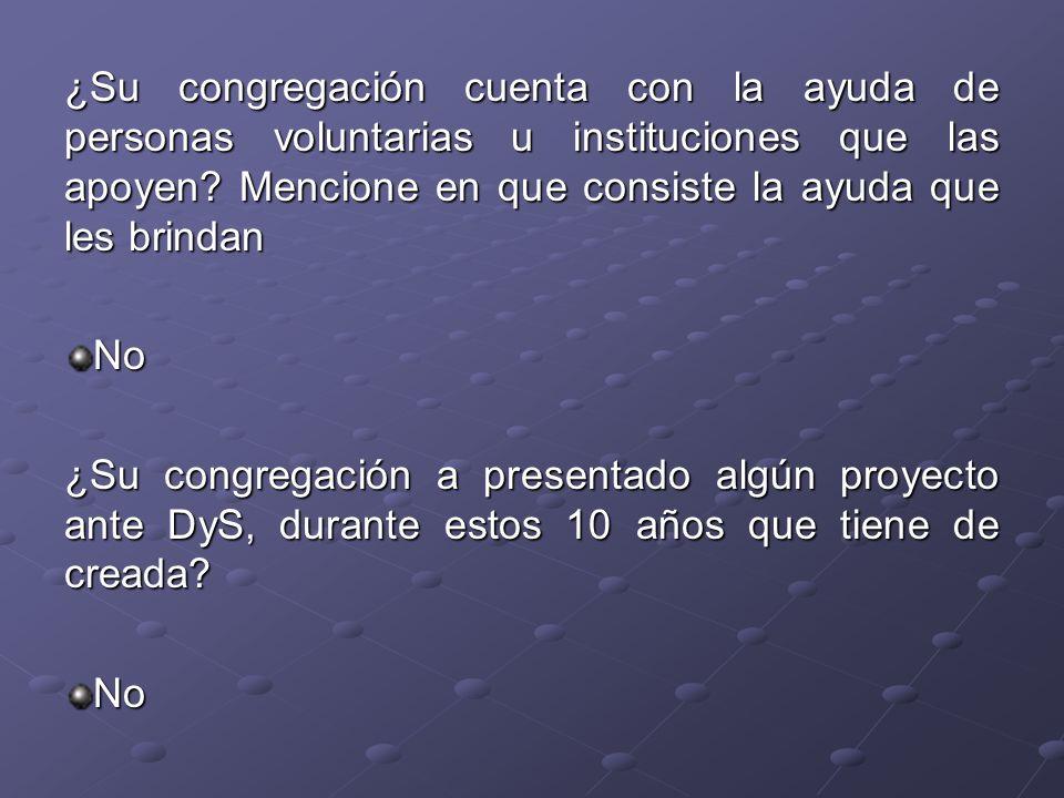 ¿Su congregación cuenta con la ayuda de personas voluntarias u instituciones que las apoyen Mencione en que consiste la ayuda que les brindan