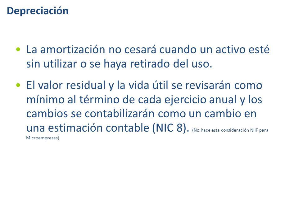 Depreciación La amortización no cesará cuando un activo esté sin utilizar o se haya retirado del uso.