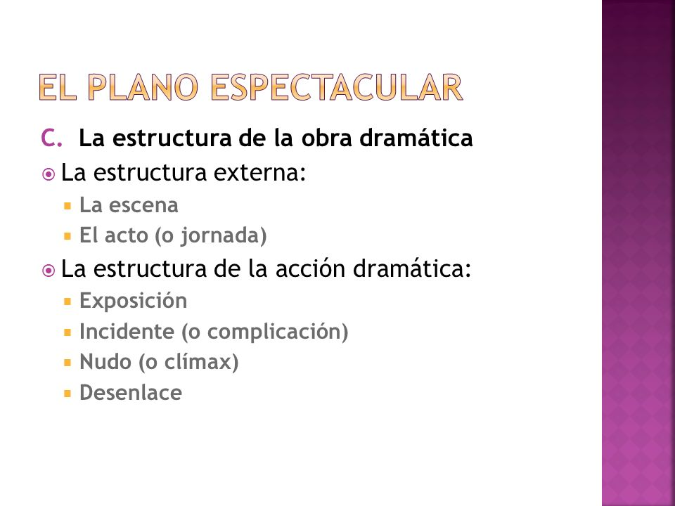 El plano espectacular La estructura de la obra dramática