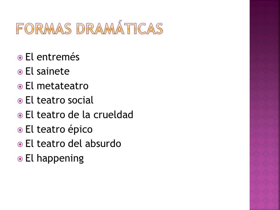 Formas dramáticas El entremés El sainete El metateatro