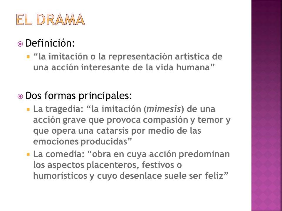 El drama Definición: Dos formas principales: