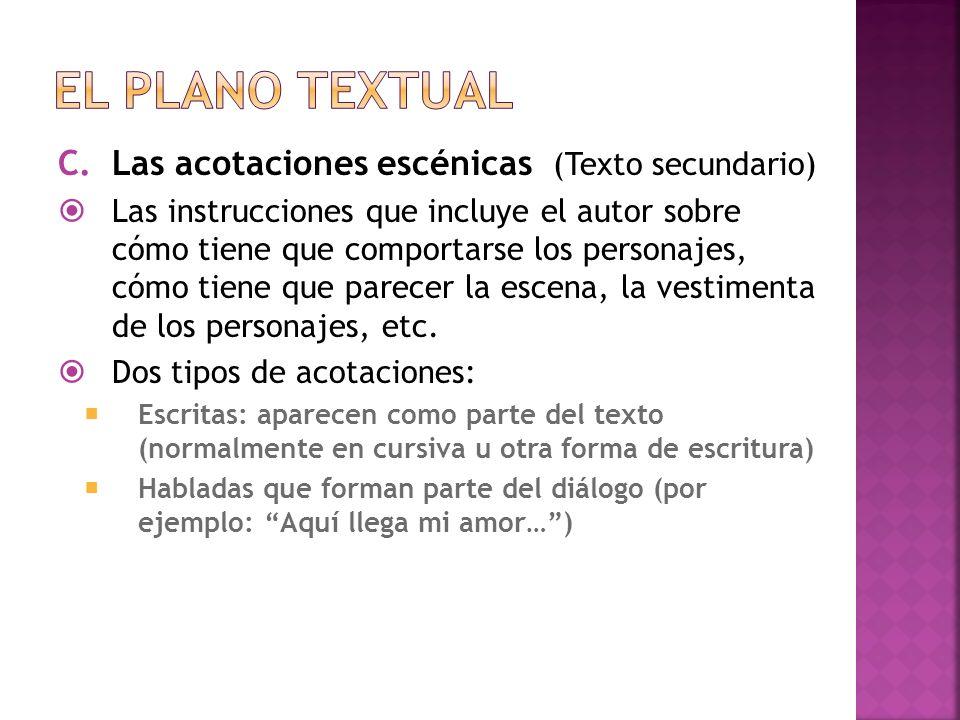 El plano textual Las acotaciones escénicas (Texto secundario)