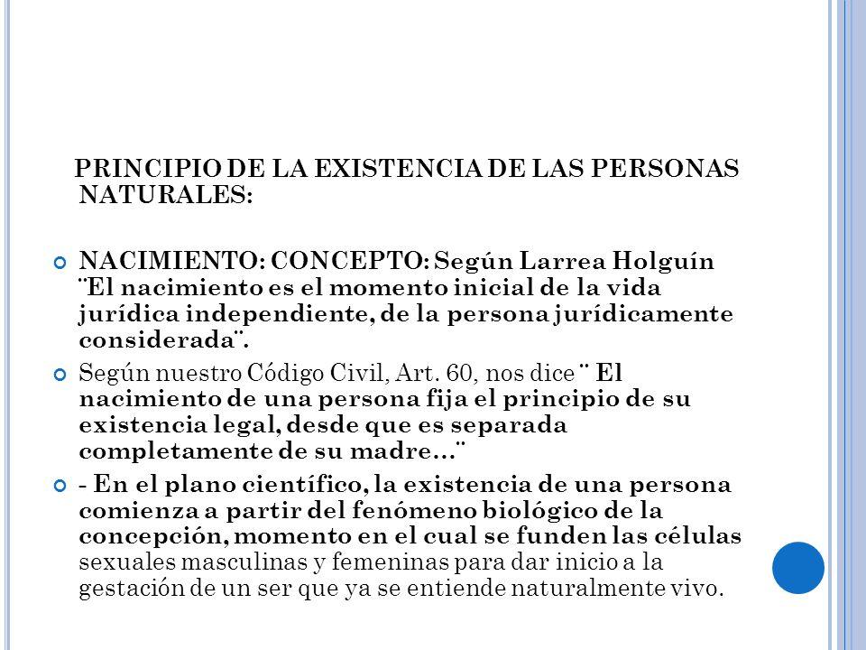 PRINCIPIO DE LA EXISTENCIA DE LAS PERSONAS NATURALES: