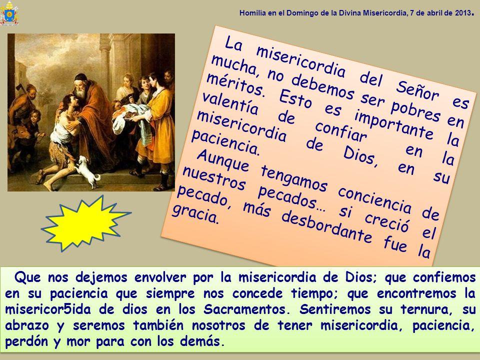 Homilía en el Domingo de la Divina Misericordia, 7 de abril de 2013.