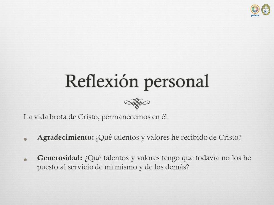Reflexión personal La vida brota de Cristo, permanecemos en él.