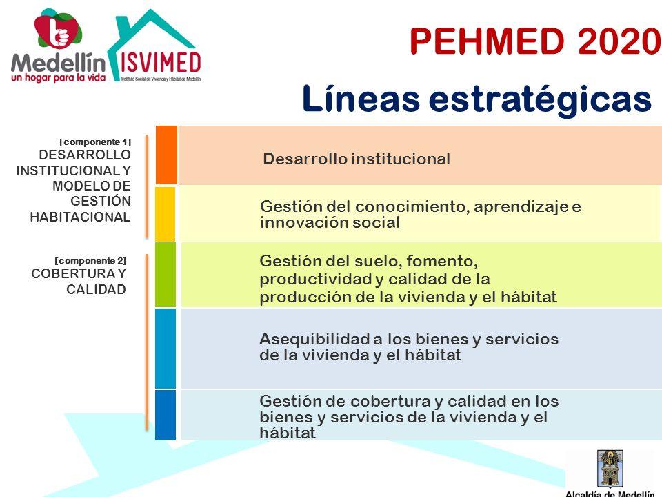 PEHMED 2020 Líneas estratégicas Desarrollo institucional