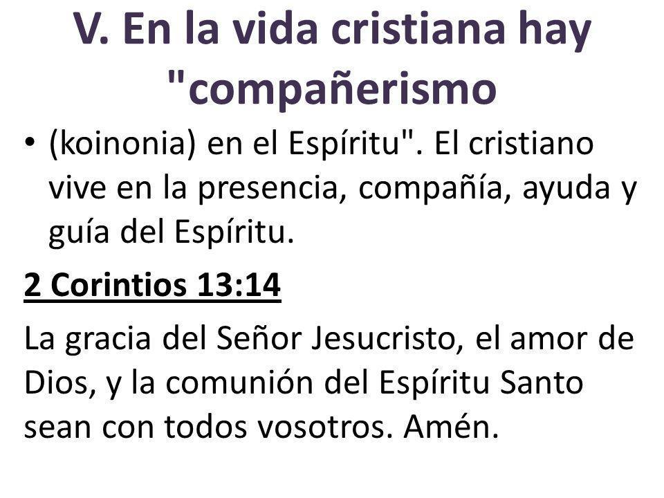 V. En la vida cristiana hay compañerismo