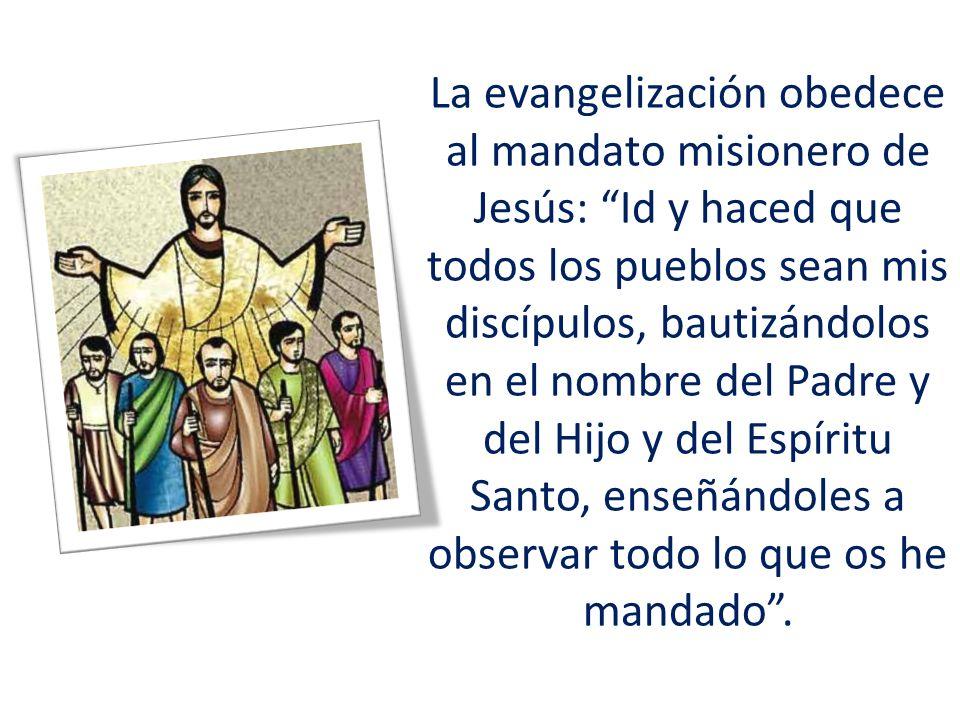 La evangelización obedece al mandato misionero de Jesús: Id y haced que todos los pueblos sean mis discípulos, bautizándolos en el nombre del Padre y del Hijo y del Espíritu Santo, enseñándoles a observar todo lo que os he mandado .
