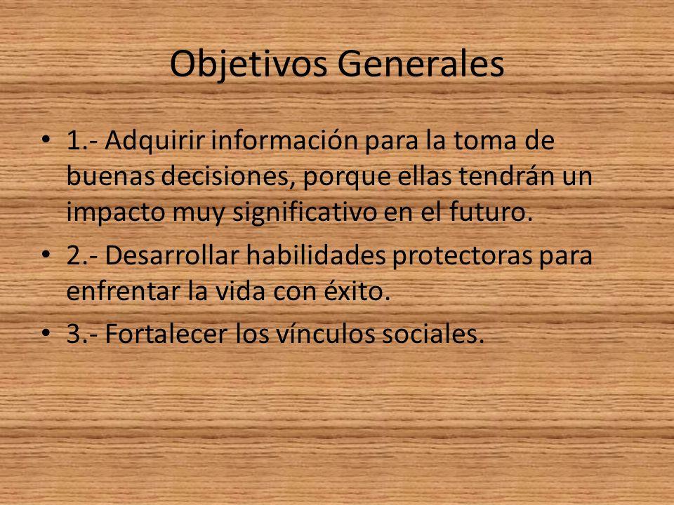 Objetivos Generales 1.- Adquirir información para la toma de buenas decisiones, porque ellas tendrán un impacto muy significativo en el futuro.