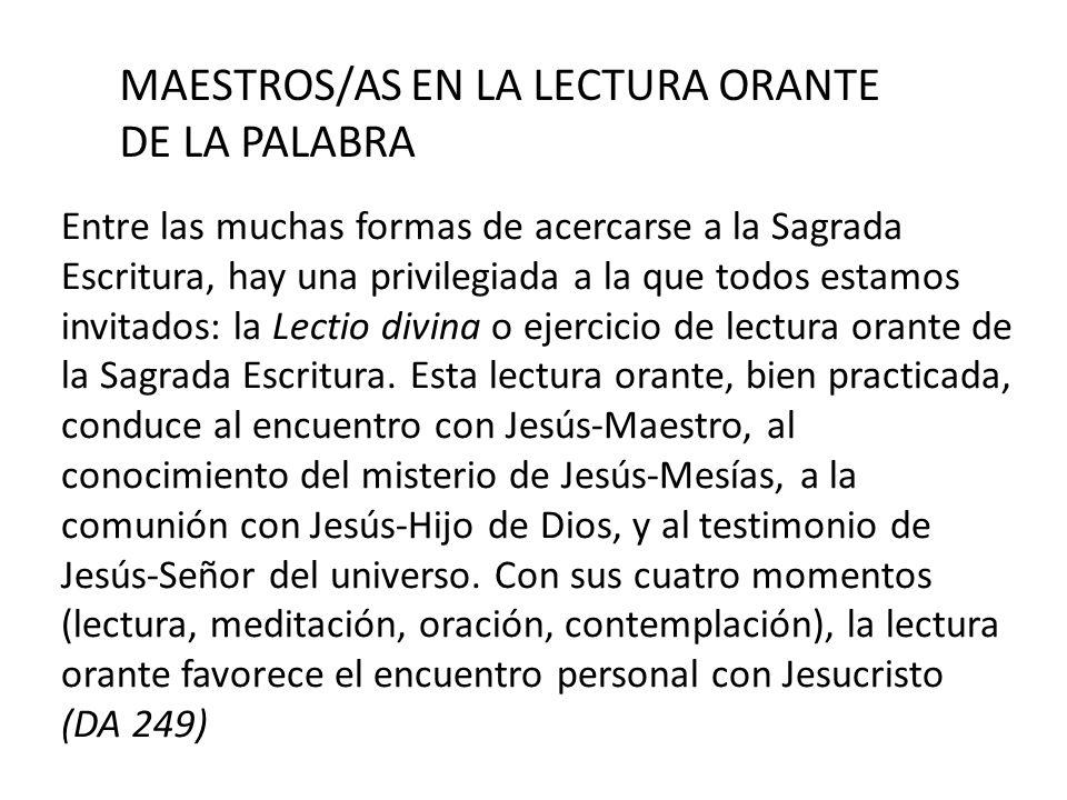MAESTROS/AS EN LA LECTURA ORANTE DE LA PALABRA