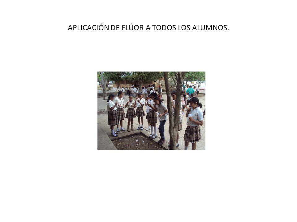 APLICACIÓN DE FLÚOR A TODOS LOS ALUMNOS.