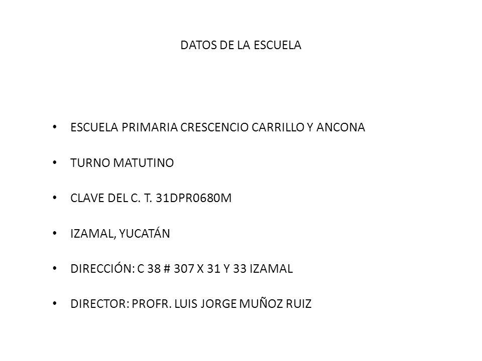 DATOS DE LA ESCUELA ESCUELA PRIMARIA CRESCENCIO CARRILLO Y ANCONA. TURNO MATUTINO. CLAVE DEL C. T. 31DPR0680M.