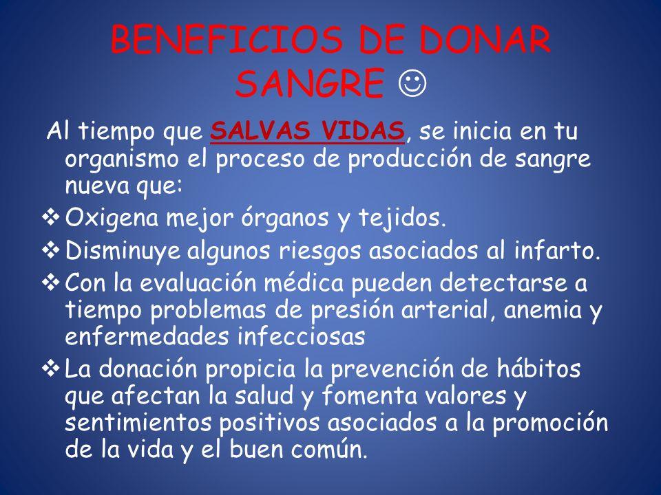 BENEFICIOS DE DONAR SANGRE 
