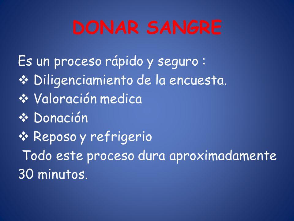 DONAR SANGRE Es un proceso rápido y seguro :