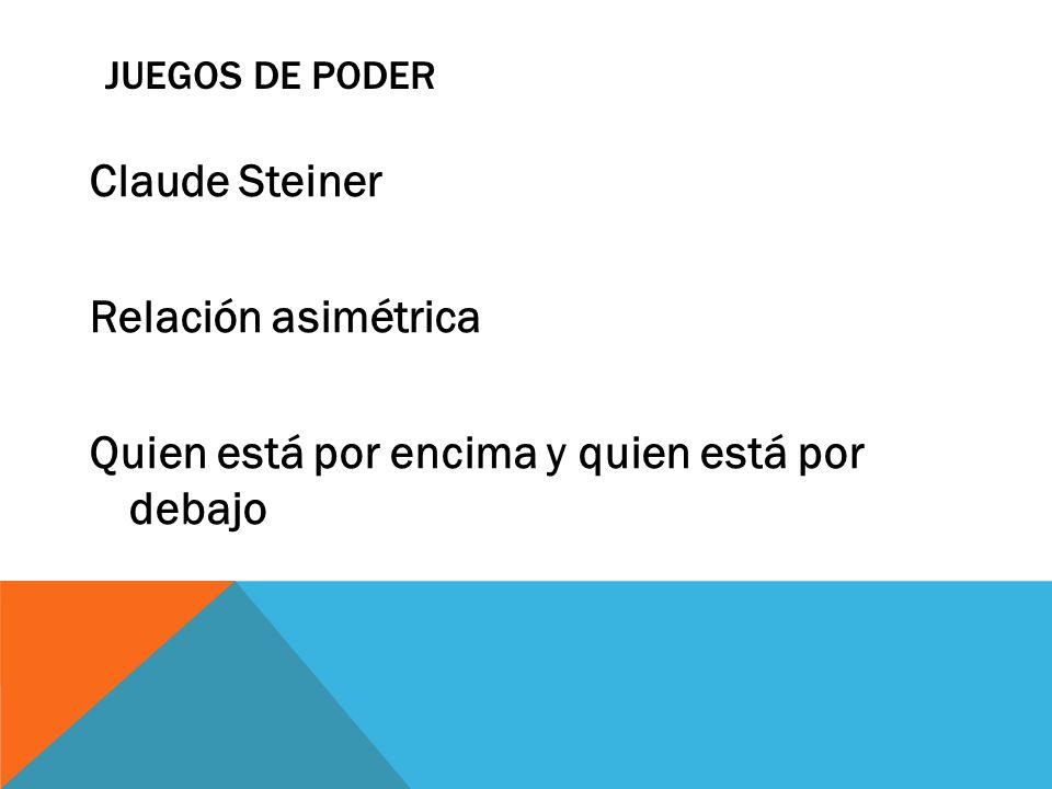 Juegos de Poder Claude Steiner Relación asimétrica Quien está por encima y quien está por debajo j