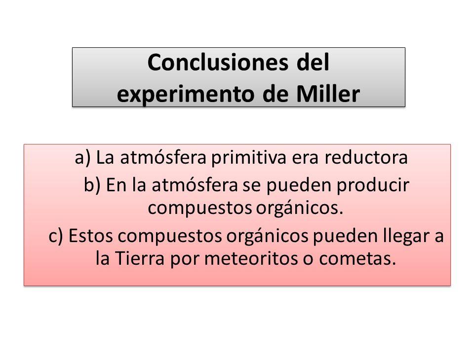 Conclusiones del experimento de Miller