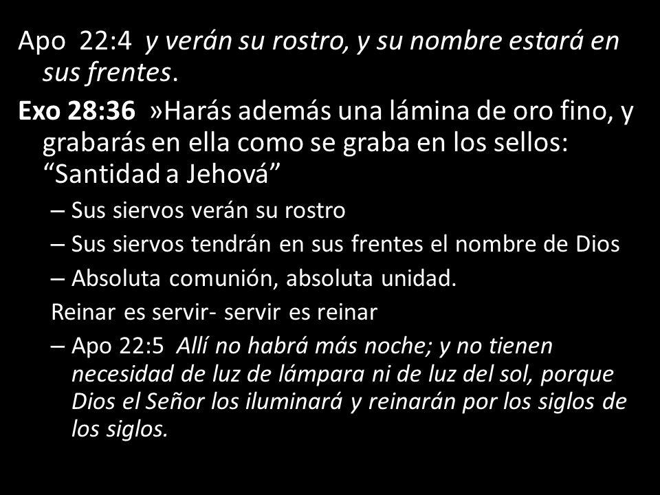 Apo 22:4 y verán su rostro, y su nombre estará en sus frentes.