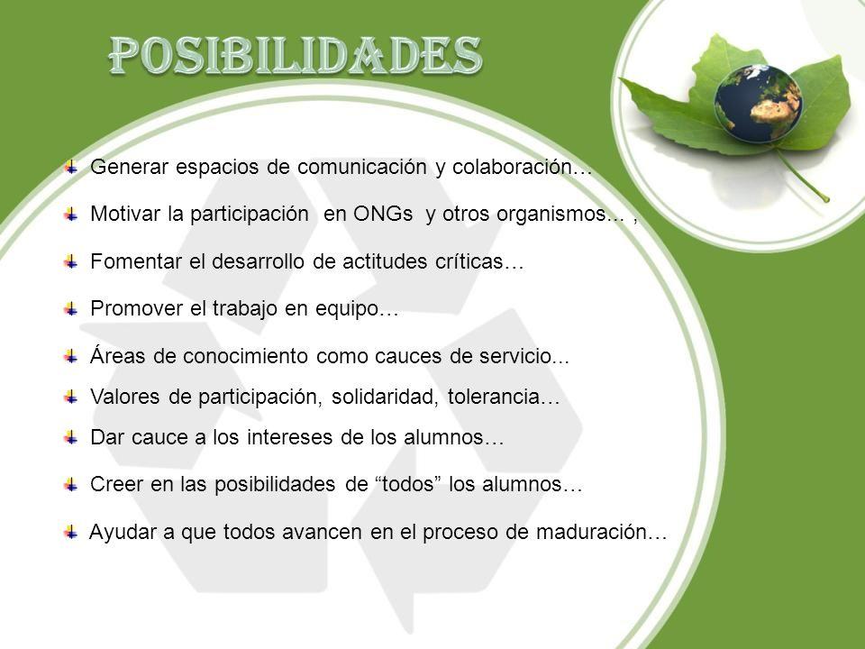 POSIBILIDADES Generar espacios de comunicación y colaboración…