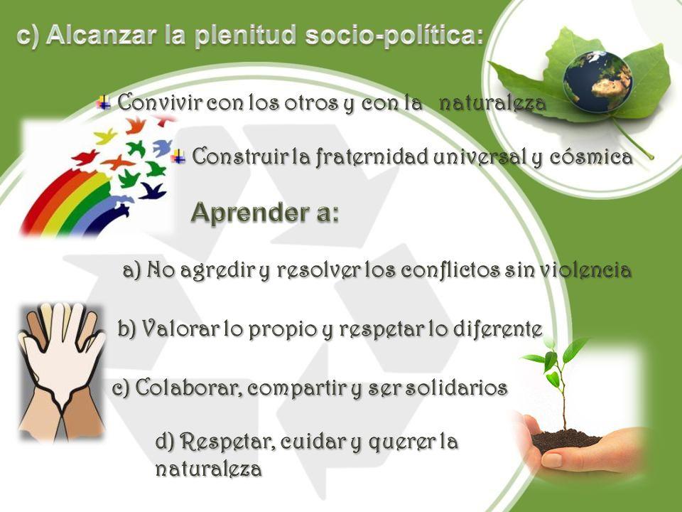 c) Alcanzar la plenitud socio-política: