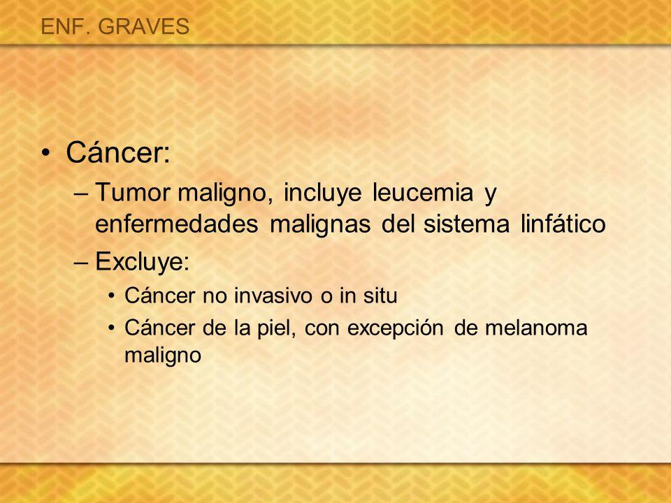 ENF. GRAVES Cáncer: Tumor maligno, incluye leucemia y enfermedades malignas del sistema linfático.