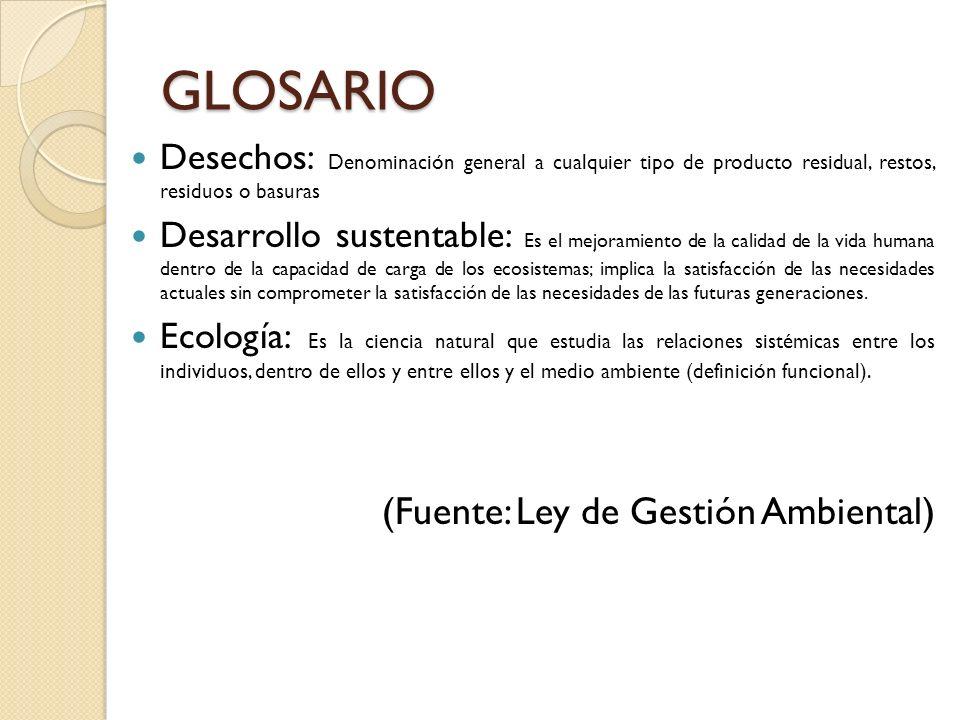 GLOSARIO (Fuente: Ley de Gestión Ambiental)