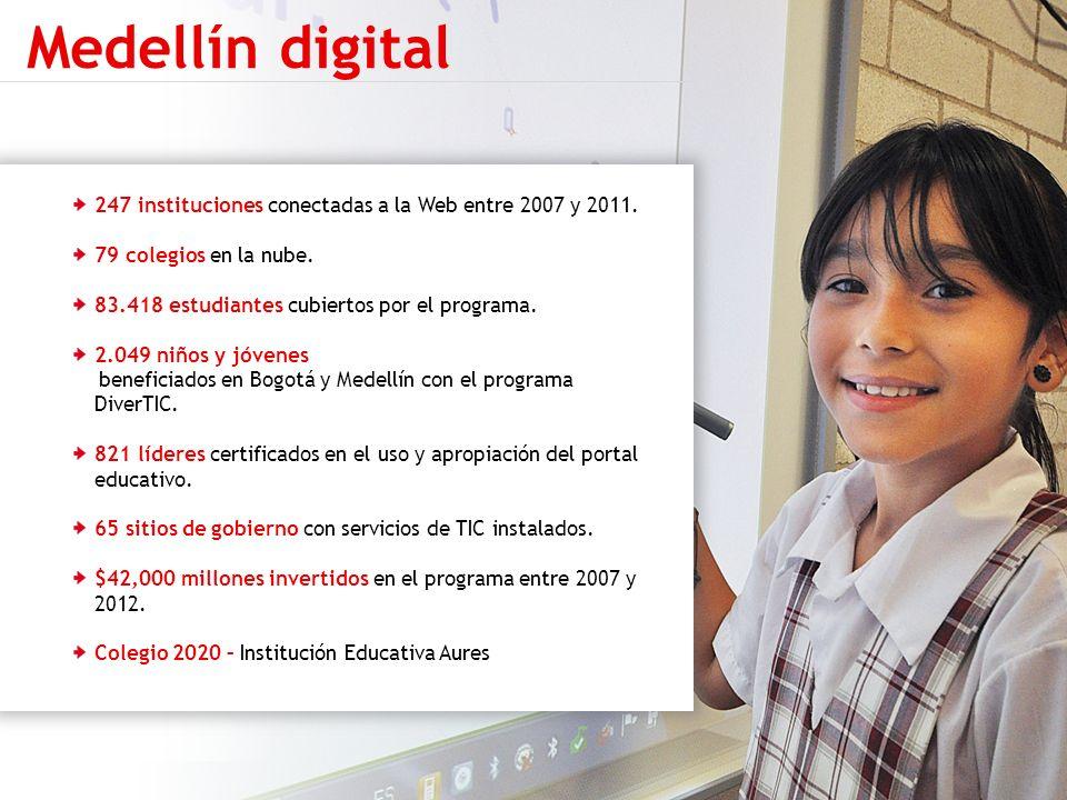 Medellín digital 247 instituciones conectadas a la Web entre 2007 y 2011. 79 colegios en la nube. 83.418 estudiantes cubiertos por el programa.